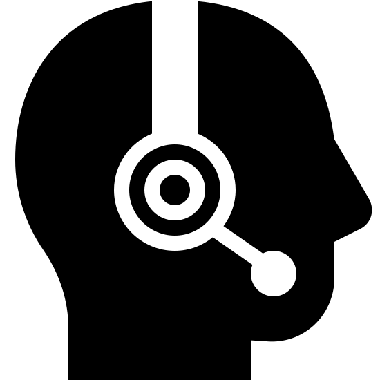 Customer Support Filled icon. This is a image of the profile of a human head.  The head itself has no features and is just an outline.  On top of the head is a headphone shape with a mouthpiece.