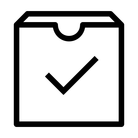 Dane odebrane icon. This is an image of a box with an open top. There is a small semicircular indentation at the very center of the front most top edge of the box. In the center of the box's front most side is a check mark.