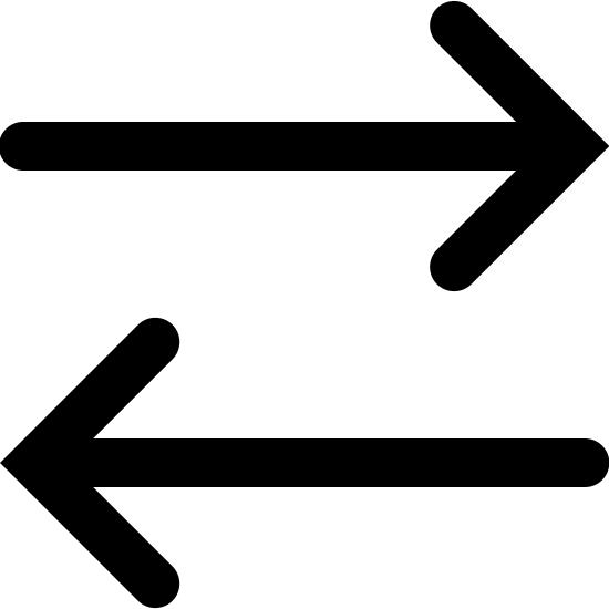 Data Transfer Filled icon. The logo displays two arrows, parallel to one another. The top arrow is pointing directly to the immediate right. Below that arrow is an arrow pointing directly to the immediate left.