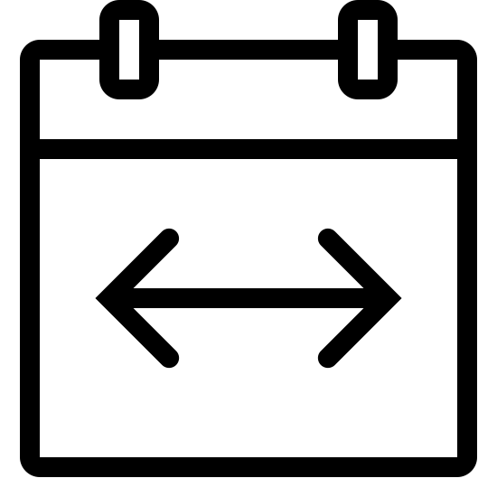 Date Span icon. There are two rectangles. In the bottom rectangle, there is a double-sided arrow. The arrow is in the center of the bottom rectangle. The top rectangle is connected to the bottom rectangle. There are two square on top of the top rectangle. They are to the center left and center right of the top rectangle.
