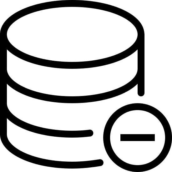 Удалить базу данных icon. It's a symbol with a small stack of coins or coin shaped objects with a minus symbol at the bottom corner. The minus symbol most likely represents a withdrawal or loss of the coins.
