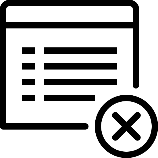 Usuń obiekt icon. This is a stylized drawing of a computer or phone screen. There is a box with lines of type inside. At the bottom of the screen breaking the lines the box there is a delete icon, which is the letter X encircled.