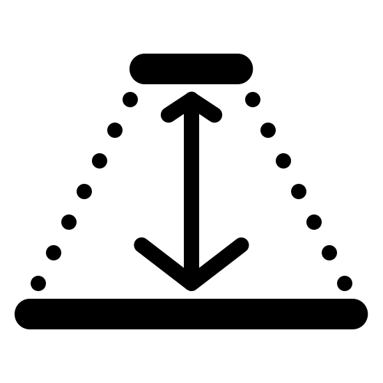 Depth Filled icon. This image is composed of a trapezoid.  The top and bottom sides of the trapezoid are solid lines and the diagonal sides are dotted lines.  In the center of the trapezoid is a unequally sized double sided arrow with the smaller arrow at the top and the larger arrow at the bottom.