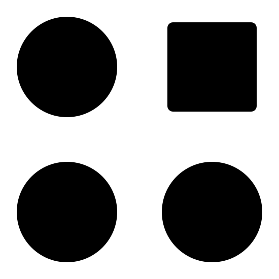 Deviazione icon. These are four circles and a square, aligned in a four by four pattern. The top-right shape is the square.
