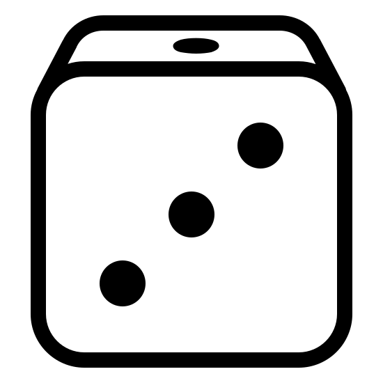Dice icon. There is a cube with rounded edges. The cube has three diagonal dots on the side facing the viewer and the other visible side on top has one dot visible.