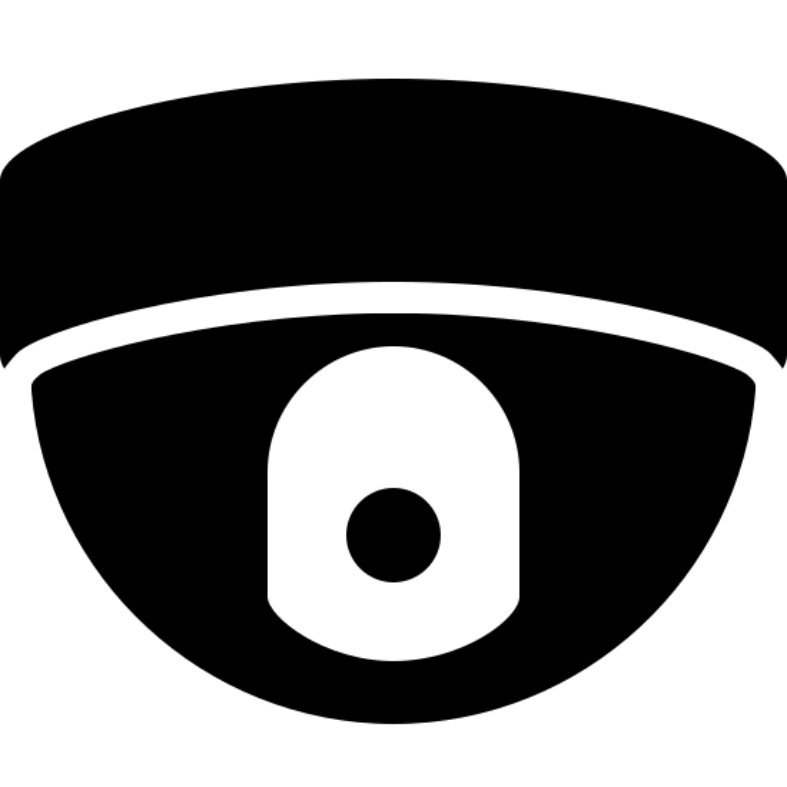 ドーム型カメラ icon. A dome camera is an object that is the bottom half of a half circle, and attached to it is a base but the base is on the top instead of the bottom. Inside the half circle or dome there is a camera attached to it.