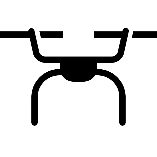Drone Filled icon. This is a picture of the top of a drone. you can see the propellers which look like bike handlebars. they go horizontally across. there are two of them and they are connected by a curved rod. underneath that is the body of the drone which we only see the top of