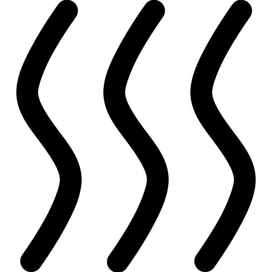 Suchy icon. It consists of three identical squiggly lines aligned parallel to one another. All three lines look some what like the letter 'S.' The curves are a bit smaller though, creating a more vertical shape.