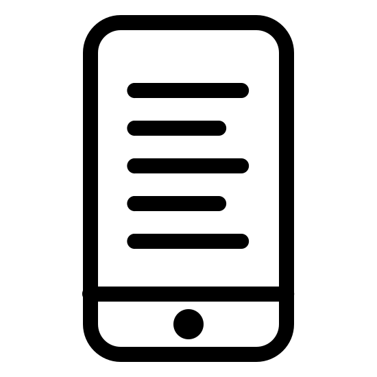Ebook icon. A rectangle that is split into two rectangles. There are five lines of text in the top rectangle. The lines are in the center of the top rectangle. The bottom rectangle has a filled circle in the center of it.
