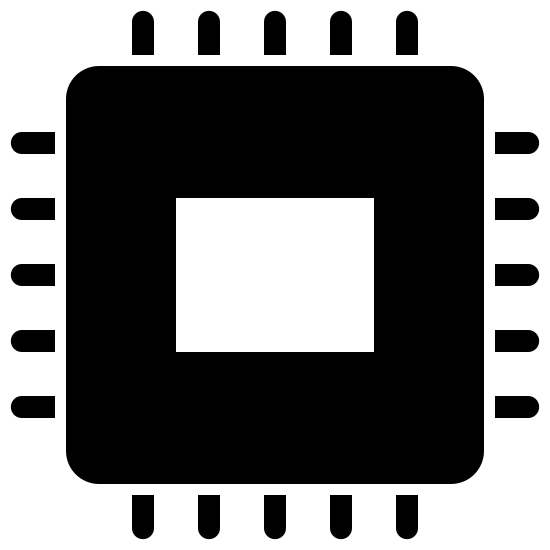 Electronics Filled icon. There is a small square centered inside of a larger one with rounded edges. On the outside of the larger square are five hash marks sticking out perpendicular on each side.