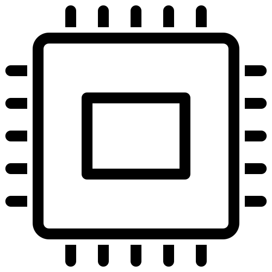 Elektronika icon. There is a small square centered inside of a larger one with rounded edges. On the outside of the larger square are five hash marks sticking out perpendicular on each side.