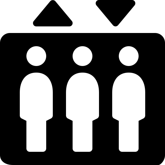 Лифт icon. There is a rectangle with three bodies inside. Above the rectangle are two triangles. The triangle on the left has one corner pointed up. The triangle on the right has on corner pointed down. The bodies are all the same size and they are side by side.