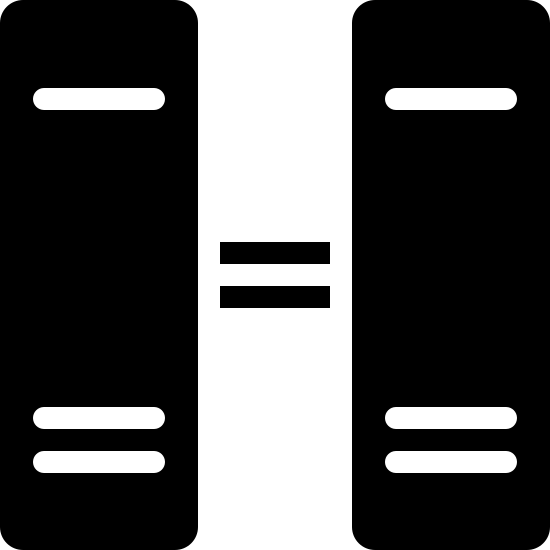 Equivalent Filled icon. This particular icon has two upright rectangle shapes with two horizontal short black lines that looks like an equals sign.  The two rectangle shapes has black lines in them, also.