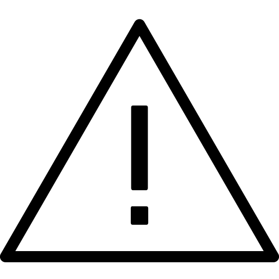 Błąd icon. It's an exclamation point drawn inside of an equilateral triangle.  The triangle is drawn with one side parallel to the ground, and the exclamation point is in the center of the triangle.