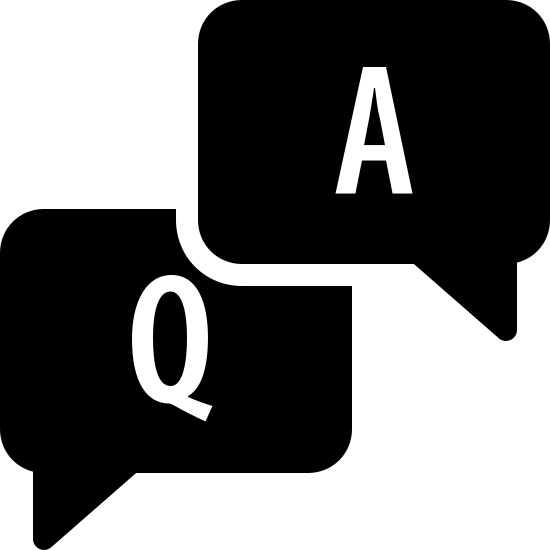 """FAQ Filled icon. The icon FAQ is two squares on top of each other with the top one off to the right. The top square has a capital """"A"""" in the middle and a small point on the bottom right corner that extends past the edge. The bottom square has a capital """"Q"""" with a point that extends past the edge on the bottom left corner."""