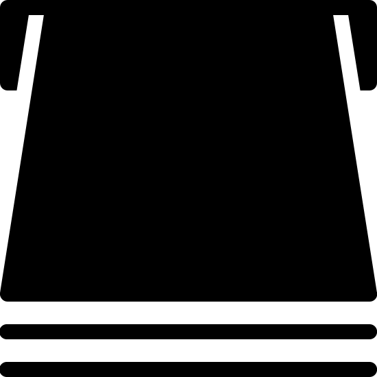 Podawanie papieru icon. The icon is a trapezoid shape and under the base are two horizontal lines one on top of another. At the top right and left of the trapezoid are two smaller rectangle shapes sticking out at both ends.