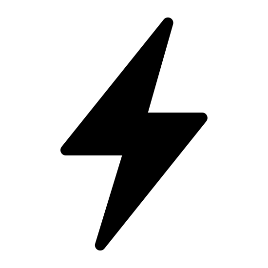 Flash On Filled icon. This is a picture of a flash of lighting that is very pointy. it is representing the flash of a camera. the top of the lightning bolt is pointed towards the top right hand corner, while the bottom is pointing down and center