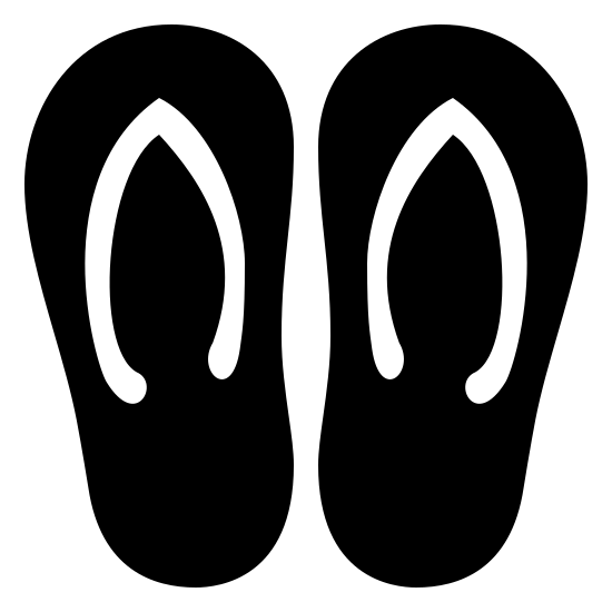 Flip Flops Filled icon. The icon resembles two upside down pear shapes that are side by side. Each of these two shapes, starting at the top and ending at the middle, have a wishbone looking shape inside of it.