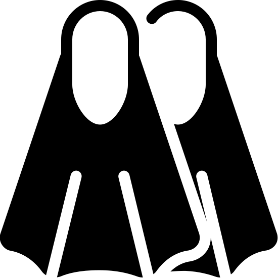 Flippers Filled icon. It is a pair of Flippers, with a oval section on the top. The oval top is attached to a flared section with two partitions.