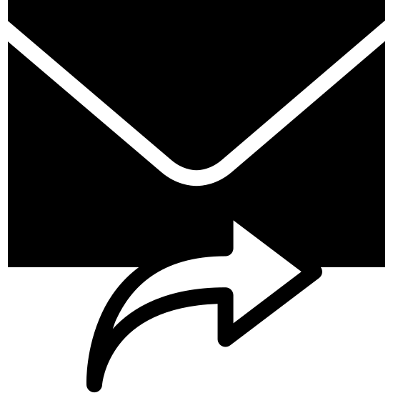 Forward Message Filled icon. There is a rectangular envelope with the folded back. Underneath of it is an arrow pointing right as if to forward.
