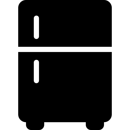 Fridge Filled icon. It's a logo that represents a refrigerator.  The logo is a picture of a basic top freezer refrigerator with the handles on the left hand side of the unit.  It also has two feet visible at the bottom of the fridge.