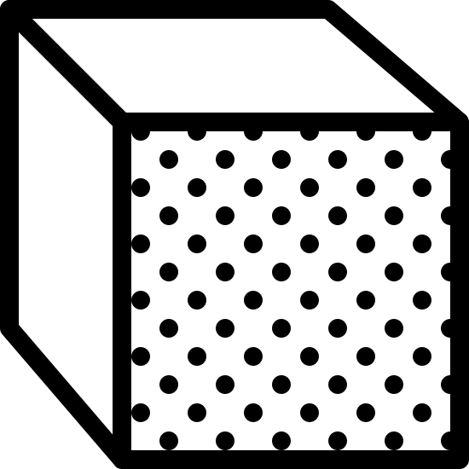 フロント ビュー icon. It's a image of a three dimensional square. The top side and the left side of the square are both blank. The front of the square is covered in many black dots