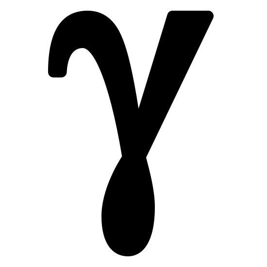 Gamma Filled icon. This logo has a V-like shape at the top, leading into a bulb at the base. The left arc of the V curls downward left, while the right arc remains erect.