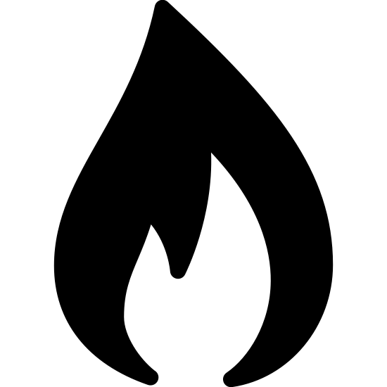 Gas Filled icon. This is a logo of a singular flame. It is an outline of just one part of the flame, the top line meeting to a soft point, and the underside of the flame having two zagging points.