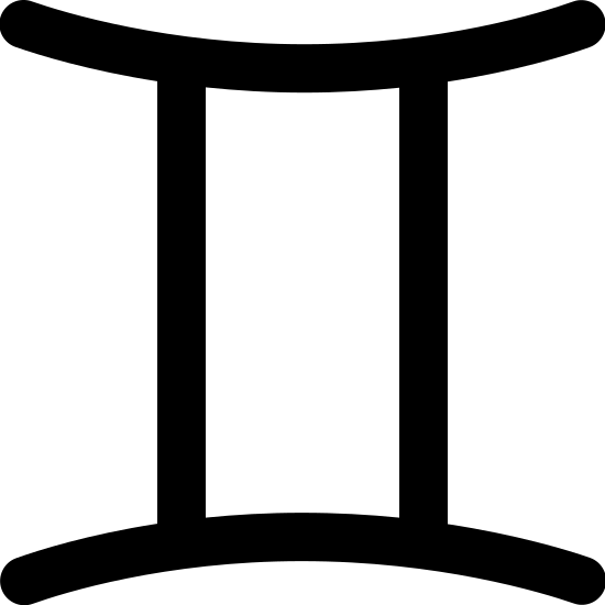 Gemini Filled icon. This particular icon has two vertical lines that are sitting parallel to each other. At the ends of both lines is a curved line that curves inwards towards the two vertical lines.