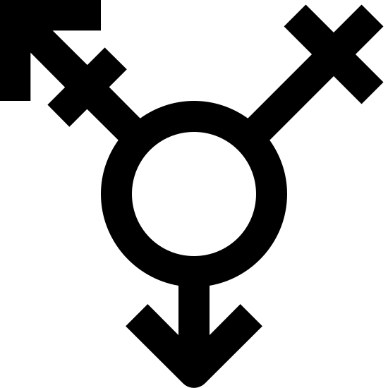 Transgender Filled icon. The icon is a logo for genderqueer. It is a picture of all the gender signs combined, at the circle being the center.