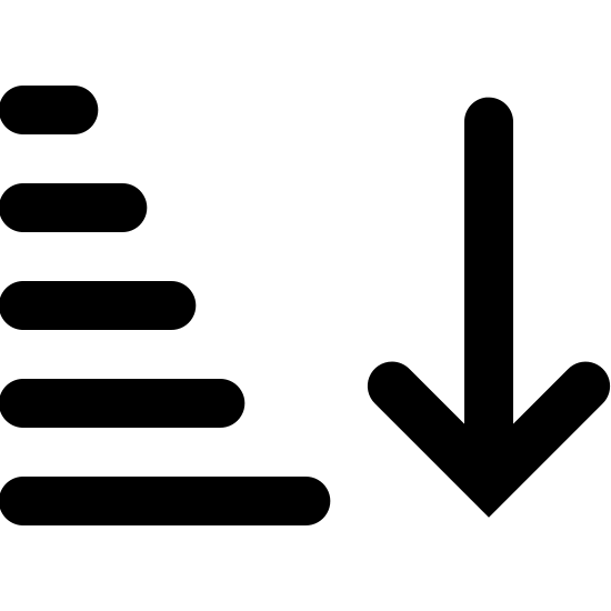 Ascending Sorting Filled icon. There is 5 horizontal lines going downwards and as they go down they get progressively longer and longer, to the right of these lines is a single arrow pointing downward, starting at the base of the first horizontal line and ending at the final line.