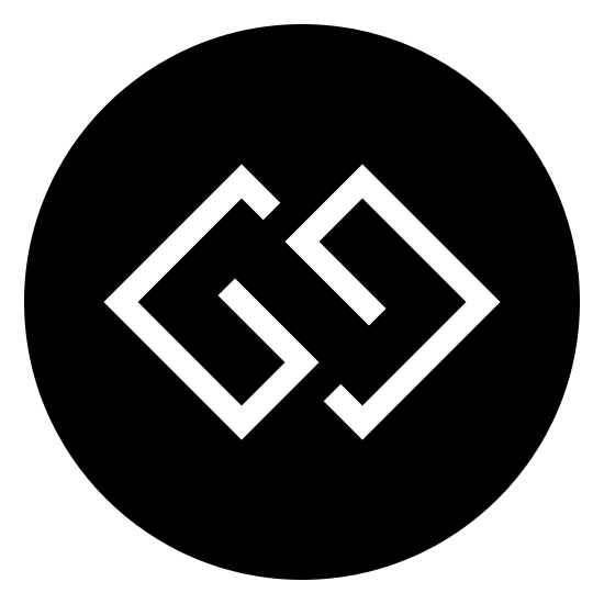 GG Filled icon. It's a logo of GG reduced to two capital letter G's. The two letters are enclosed in a circle and are interconnected with one another.