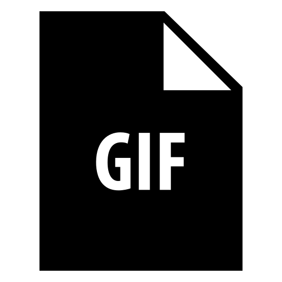 GIF Filled icon. The GIF image's main shape is a rectangle.  The rectangle is taller than it is wide.  The upper right corner of the rectangle has a dog-eared corner a folder over corner, like you would fold the corner of a piece of paper.   In the center of the rectangle are the letters G I F to indicate the item is a GIF file.