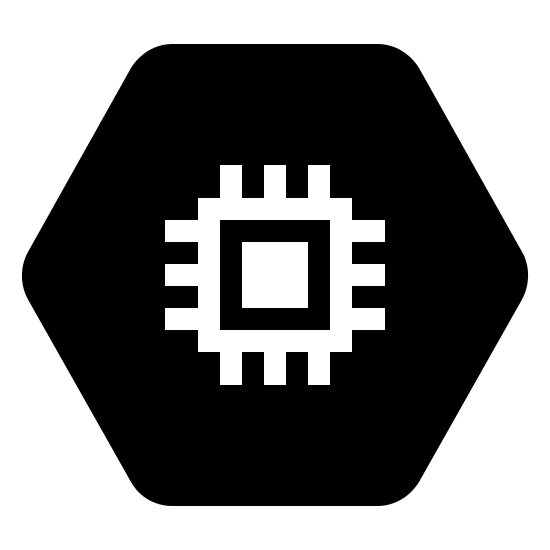 Google Compute Engine Filled icon. There is an outline of a hexagon. Within lies the representation of a computer chip. There is a single solid square in the center, surrounded by the outline of another square. From this square, three lines extend from each side.