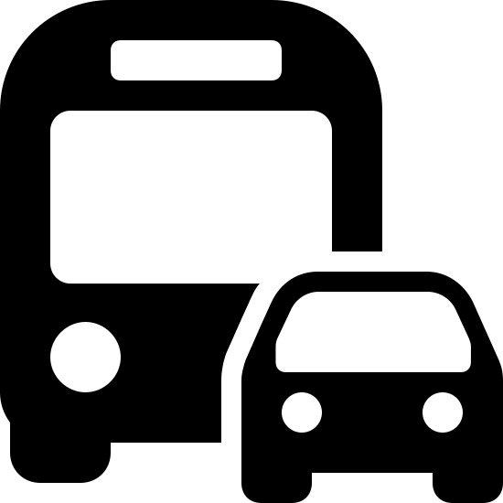 Transport lądowy icon. It's a logo with a car in front of a bus. The car is positioned to the right, front side of the bus, covering its left headlight. The car and the bus have rounded corners.