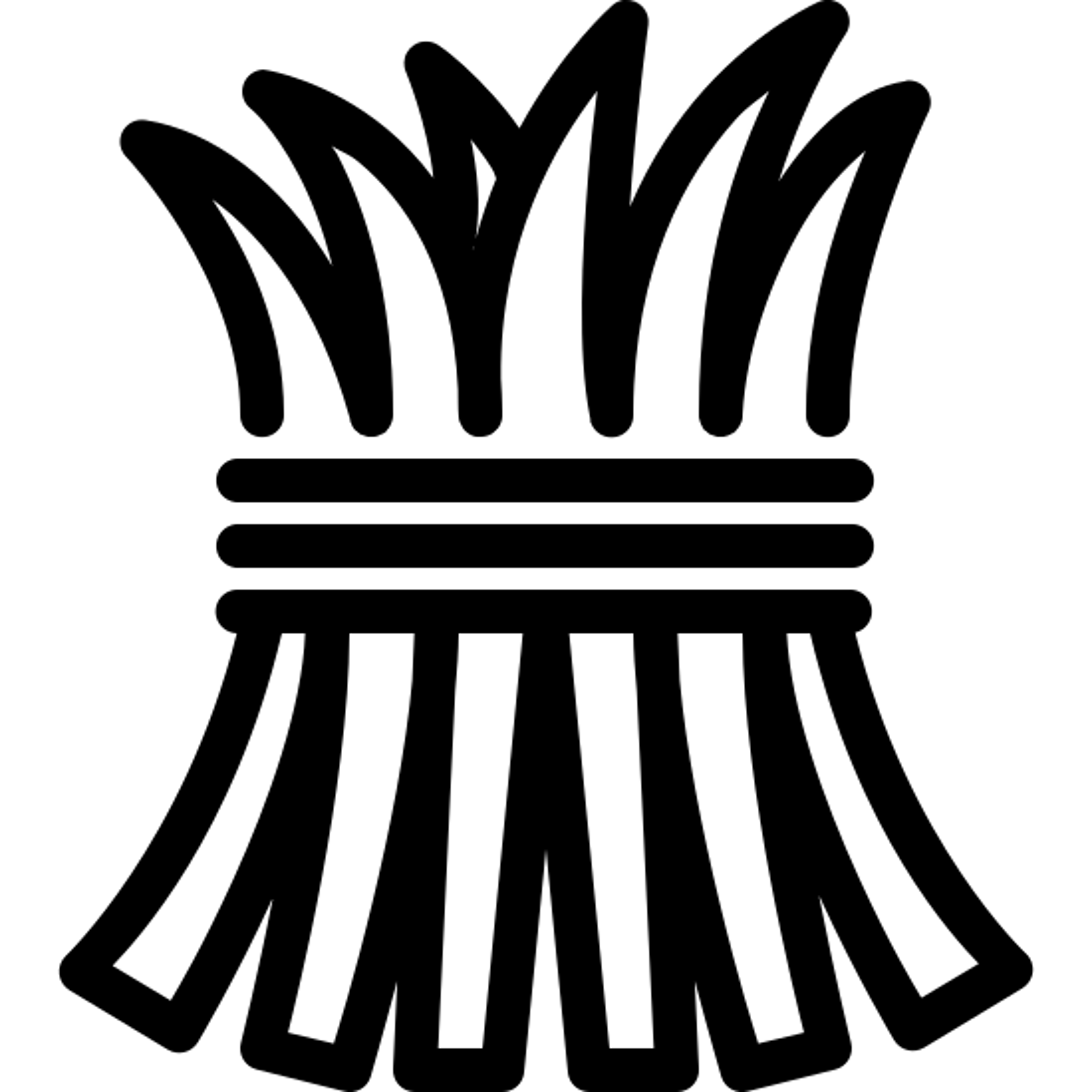 干し草 icon. A hay icon is a group of stick like objects that are bundled together. The hay icon has a pointy tip to show the pointy texture of hay. Another thing that the icon represents is that hay is pretty much always bundled or stuck together, and you would not see one piece of hay.