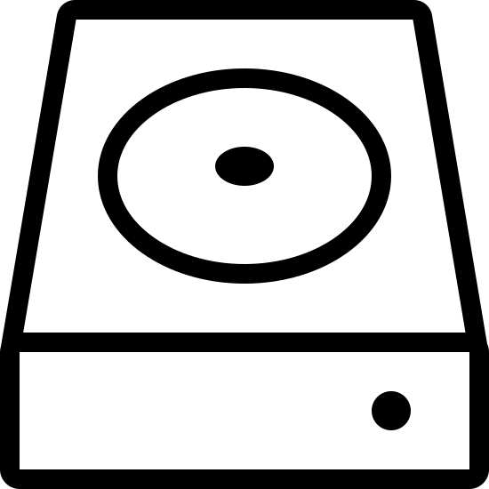 HDD icon. A flat rectangular shape. The top space is filled mostly by a circle with a dot in the center to represent the disk inside of it. There is a dot on the front to represent the light.