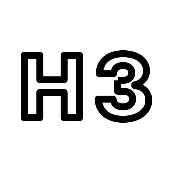 Header 3 icon. The icon comprises of a pair of empty block letters, a capital H and a 3. The icon represents the third level of header within an HTML document, below two layers of header, H2 and H1. This header level is typically used to represent sub-sub-sections of a document.