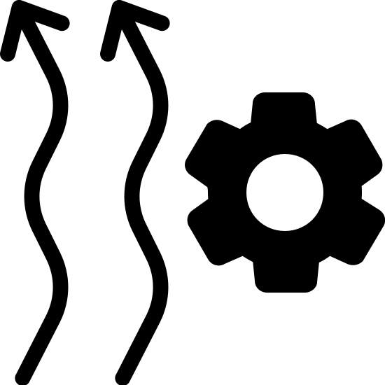 Heating Automation Filled icon. The icon resembles two squiggly vertical arrows that are pointing up. The arrows are placed side by side to each other. To the right of the arrows towards their center is a cog like shape.
