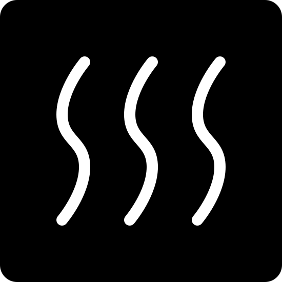 Heating Filled icon. This image is a square with three vertical lines inside of it. These lines are slightly wavy and parallel and appear to signify the rising of warm air through a vent or furnace.
