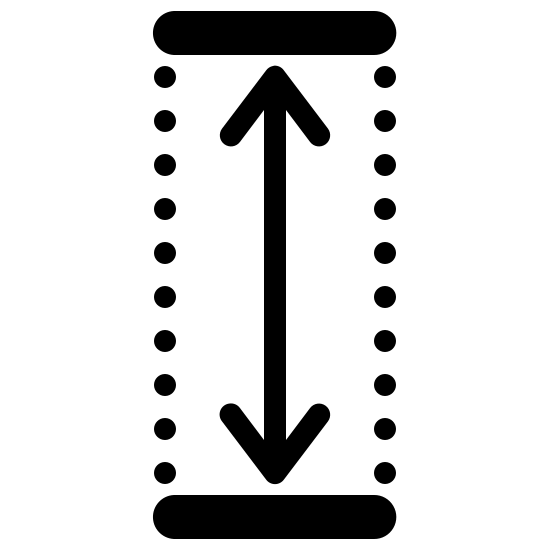 Height Filled icon. It's a logo that has two arrows which point up and down. The arrow is placed inside a rectangle and the side walls are dotted rather than a smooth line.