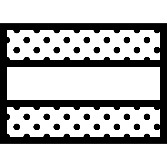 Horizontal Flag icon. The icon resembles a rectangle shape. The inside of the rectangle is striped into three sections. The top and bottom section of the rectangle are both covered with dots and the middle stripe is not.