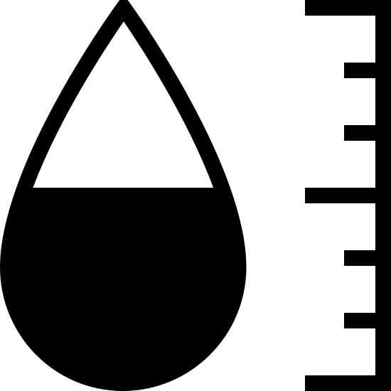 Hygromètre icon. The icon is shaped like a tear drop with the bottom half of it covered in dots. To the left of the tear drop shape is a vertical line with 7 smaller connecting horizontal lines facing left. The top, middle and, bottom lines are slightly bigger than the others.