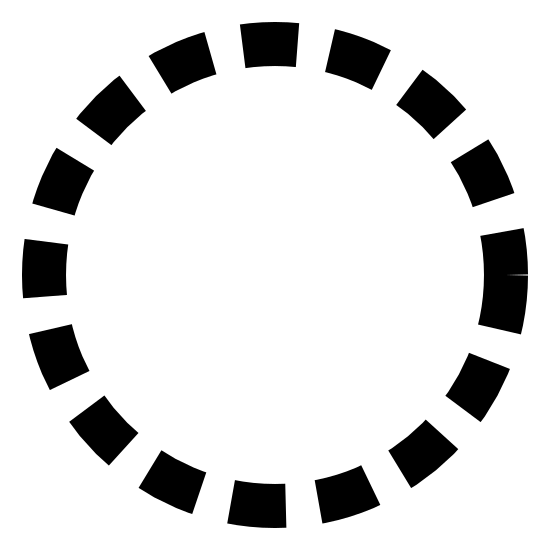 Inactive State Filled icon. This can be described as a series of small line segments placed at equal distance in such a way that they forms a circle.
