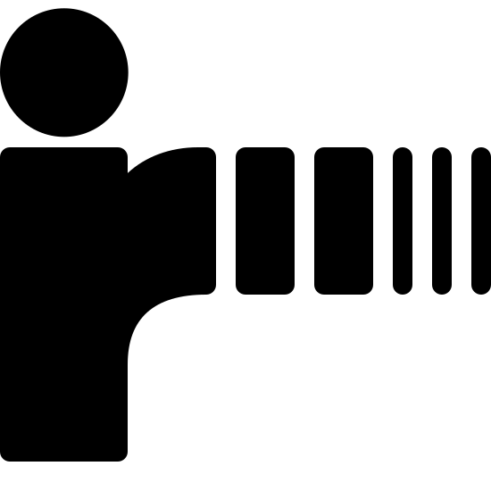 Podczerwień icon. The icon is shaped like a lower case I with a circle on top. The right side of the I opens up and together with the lower case I shape, starts to form a lower case R. At then end of the lower case R shape is 2 small horizontal rectangles followed by 3 horizontal lines.