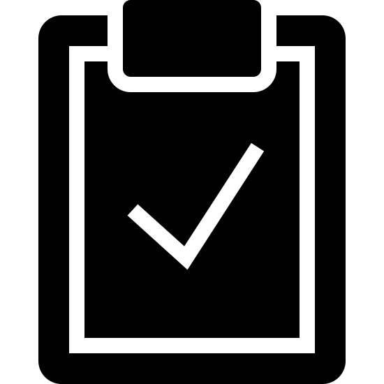 Inspección icon. This is an image of a clipboard. It is a rectangle with a smaller rectangle signifying a sheet of paper attached to it. On the paper there is a large check mark.