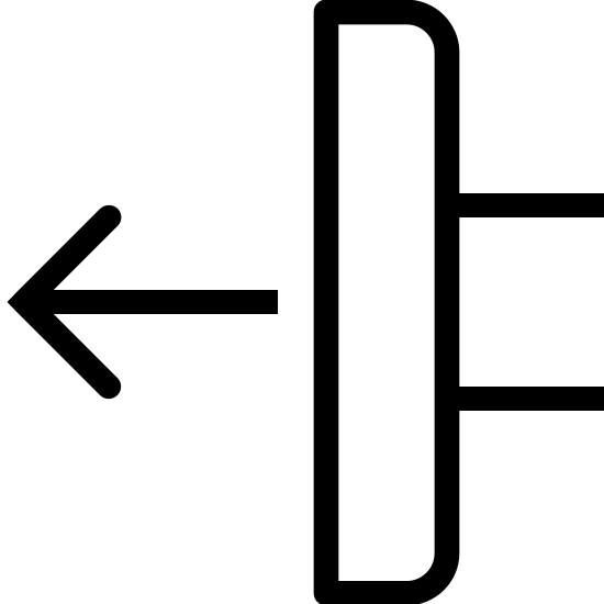 pchnij do tyłu icon. The image looks like a rectangle that has rounded out corners on the right side. There are also lines that stick out a little on the right side near the middle of the rectangle. And on the left side, almost connected to the rectangle, an arrow is pointing to the left near the middle.