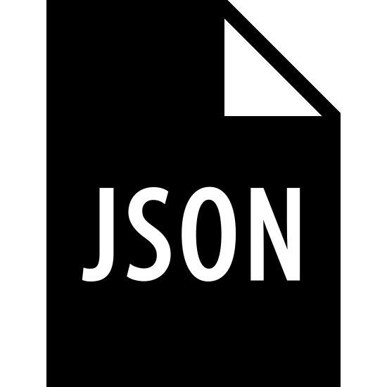JSON Filled icon. It's a logo of JSON reduced to the letters J, S, O, N. Those letters are enclosed on a document that has its upper right hand corner bent.