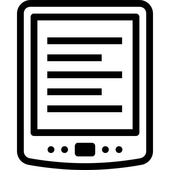 Kindle icon. The image is a tablet computer.  On the tablet computer's screen are 5 horizontal lines representing text.  On the tablet computer are 5 buttons, four are dots and the other is square.