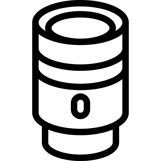 Lens icon. There is a cylinder and it is on top of a thinner cylinder. There is a small circle on the bottom-middle third of the bigger cylinder, and another thick line goes around the cylinder. The top shows a circle as a lens for a camera.